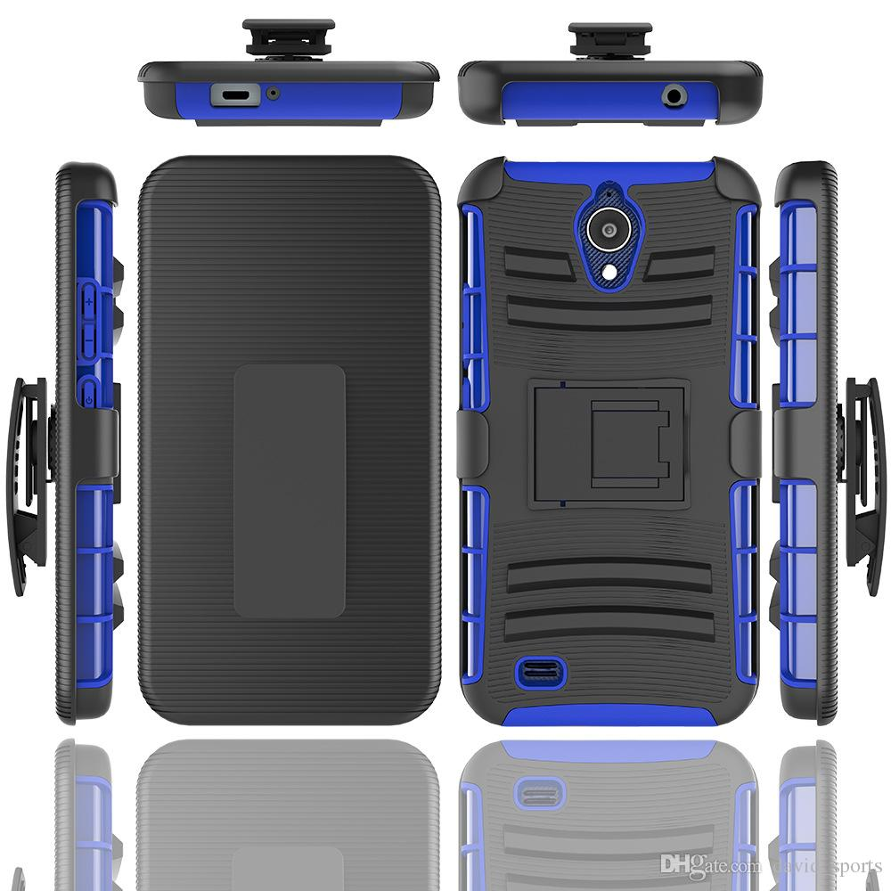 sale retailer cd20c 443d9 for AT&T AXIA QS5509A Dual Layer Hybrid Defender Kickstand Case for Samsung  Galaxy J2 Core J260 case with belt clip