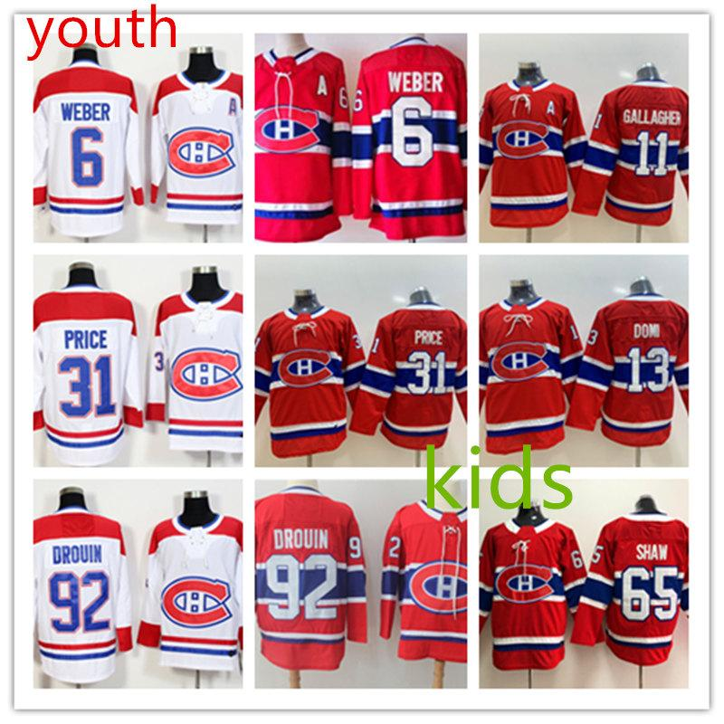 premium selection 6a182 e3ff2 Kids Montreal Canadiens Carey Price Jersey Youth Shea Weber Brendan  Gallagher Max Domi Andrew Shaw Jonathan Drouin Montreal Canadiens Jersey