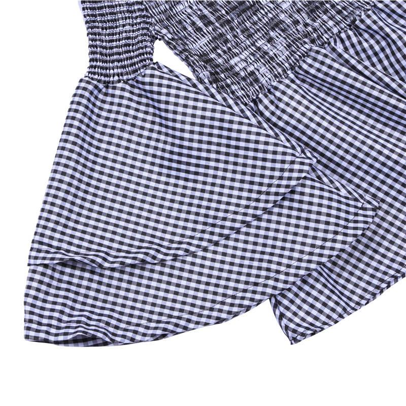 여름 플레어 슬리브 블랙 화이트 격자 무늬 주름진 블라우스 여성 긴 소매 오프 숄더 블라우스 톱