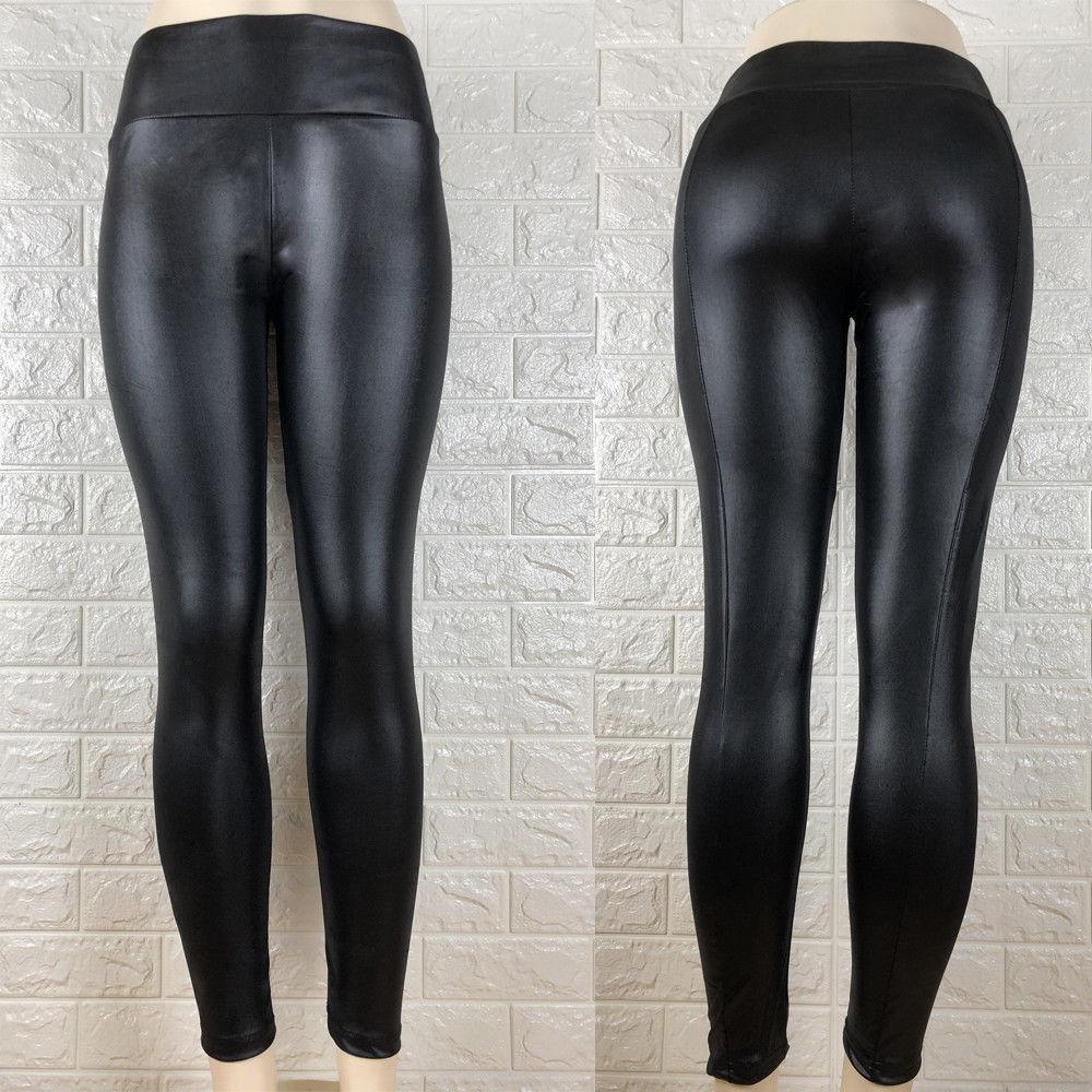 383c9ec3e Compre Moda Feminina De Cintura Alta PU Calças Wet Look Calças De ...