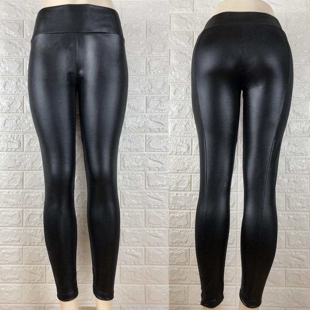663cba413115 Moda para mujer Cintura alta Pantalones de PU Aspecto mojado Faux Leather  Skinny Pencil Leggings Pantalón Pantalones largos