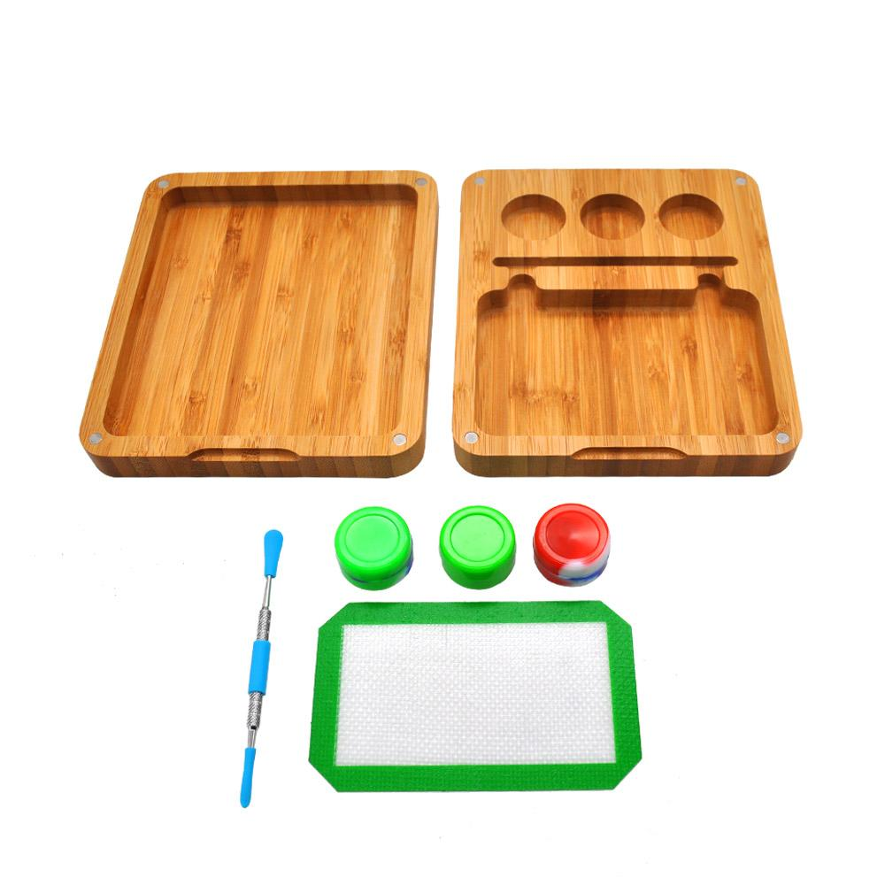 Bamboo Rosin Storage Set -Oil Wax Silicone Stash Jar+Stainless Steel Oil Spoon+Nonstick Silicone Baking Mat+Bamboo Magnet Rolling Herb Tray