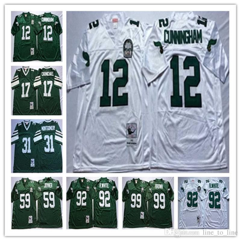 uk availability 5f867 5b010 12 Randall Cunningham Harold Carmichael 59 Seth Joyner 92 Reggie 31  Montgomery White Green Stitching Football Jerseys Men