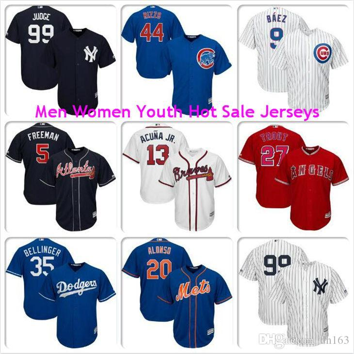 Mens Donne gioventù Aaron giudice Ronald Jr Acuna Freddie Freeman Javier Baez Anthony Rizzo Mike Trout Pete Alonso Cubs Mets pullover di baseball 4XL