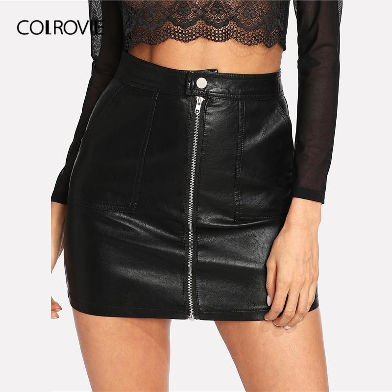 087e029e1a2e36 2019 Colrovie Spring Plain Faux Leather Skirt Black Mid Waist Zip Front  Sexy Pu Skirt Women Elegant Sheath Above Knee Mini Skirt Q190413 From  Tai01, ...