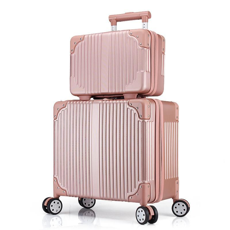 75233cda45b4 Women 16 Inch Luggage and Cosmetic Bag Set Small Carry-on Luggage Spinner  Coded Lock Zipper Suitcase Set Rose Gold/Pink/Black