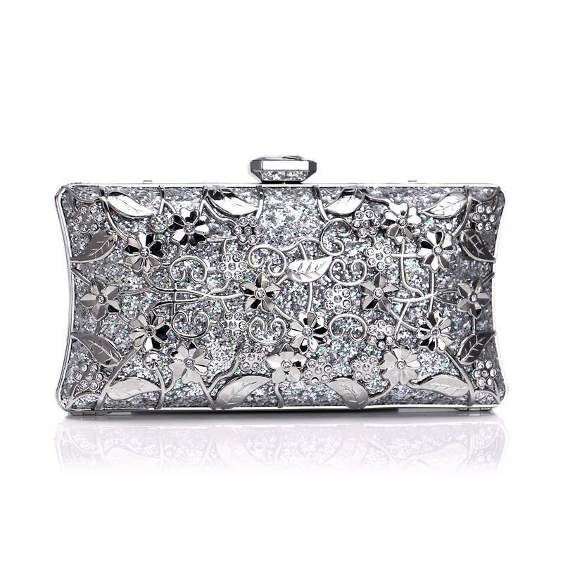 SEKUSA Diamonds Lüks Kadınlar Günü Debriyaj Hollow Out Metal Düğün Akşam Çanta Zincir Omuz Çanta Çanta Ile