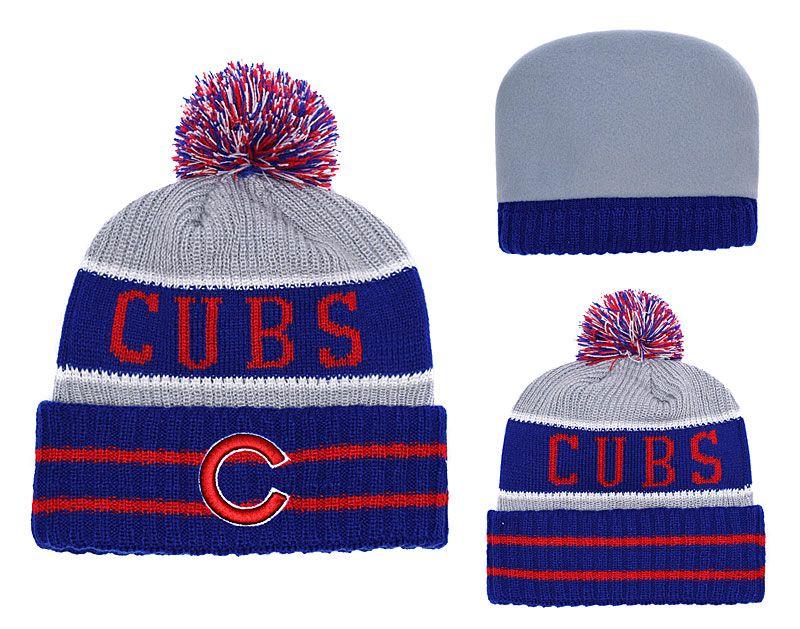 NEW Men S Chicago Cubs Knitted Cuffed Pom Beanie Hats Striped Sideline Wool  Warm Baseball Beanie Cap Men Women Bonnet Beanies Skull Hat Knitted Hat Cap  Hat ... 4dcd8bc4ff