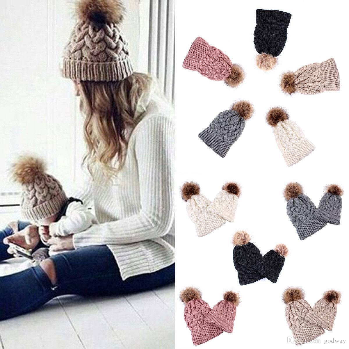 46ffa752998 2019 Mother Baby Hats Women Kid Baby Warm Winter Knit Beanie Fur Pom Bobble  Hat Crochet Ski Cap From Godway