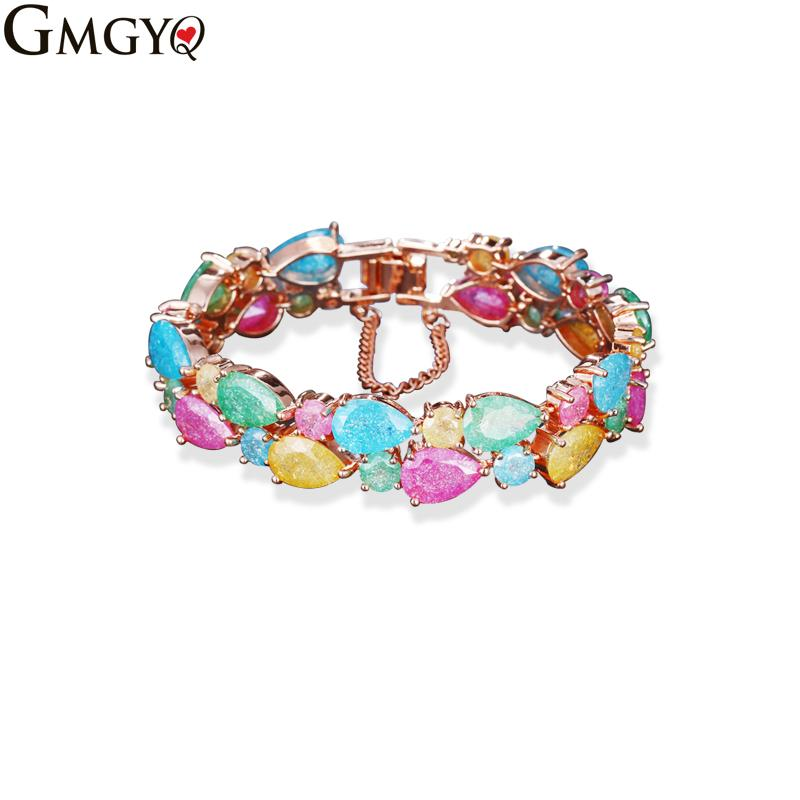 GMGYQ Brand Hot Selling Mona Lisa Multicolor Cubic Zirconia Bracelet Rose Gold Bangles For Women Fashion Wedding Jewelry Gift