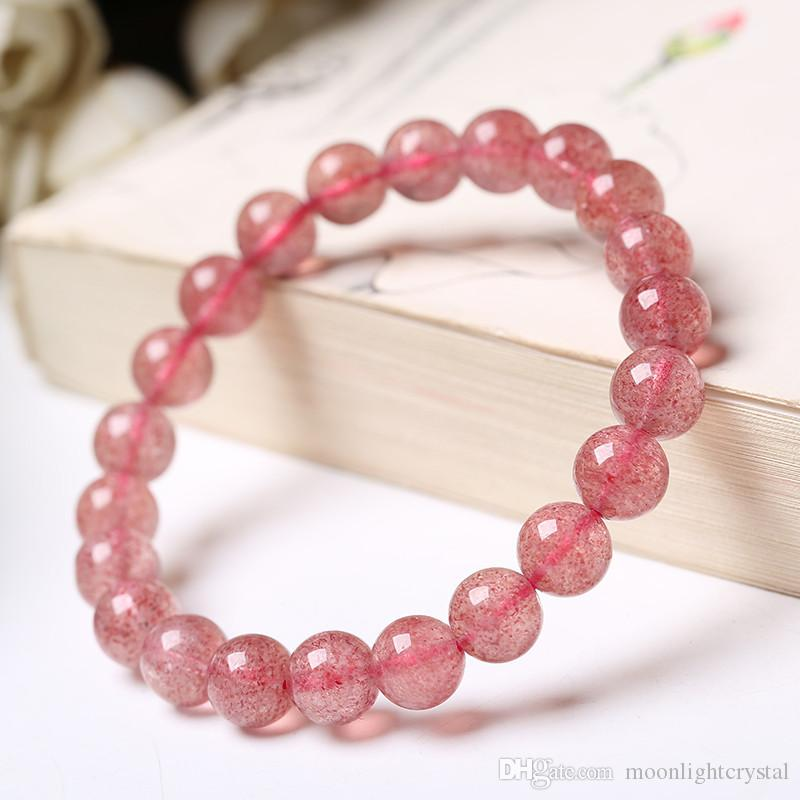 Wholesale Fashion Natural Red Strawberry Quartz Crystal Round Bead Stretch Bracelet 10mm For Men Women Jewelry