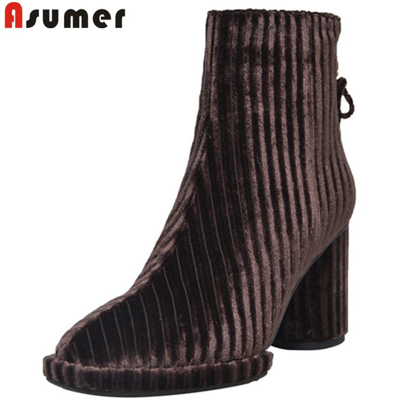 b52e061a2073 ASUMER 2019 Hot Sale New Ankle Boots Women Square Toe Square High Heels  Shoes Woman Autumn Ladies Prom Boots Zipper Cute Shoes Boots From  Kateperry