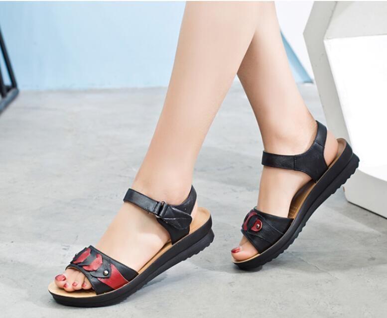 4425c41af19 Womens Low Heel Sandals Leather Strap Women Sandals Non-slip Hook & Loop  Open Toe Summer Shoes
