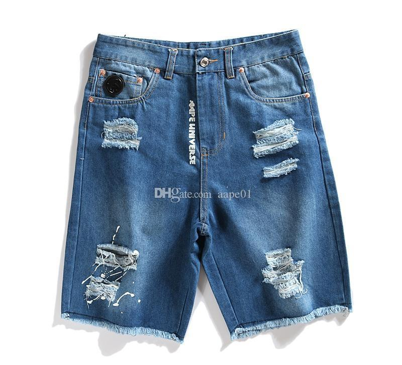 New AAPE Jeans Hommes Mode Denim Shorts Designer Ripped simples trous Denim Shorts Mens AAPE été Designer Shorts Casual