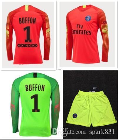 03d51ace7 2019 18 19 PSG Soccer Jersey Goalkeeper 2018 2019 BUFFON AREOLA CAVANI  DRAXLER SILVA Survetement Gardien De But Maillot De Foot From Spark831