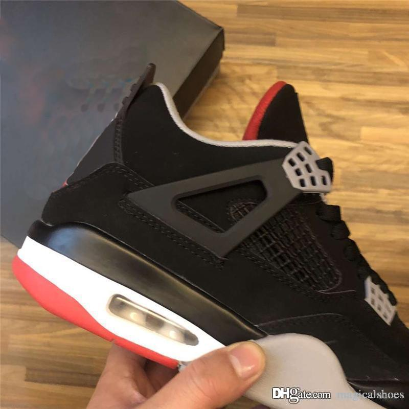 1b98383b168f 2019 Authentic Air OG 4 Bred 7Jordan Basketball Shoes Man Sports Sneakers Black  Cement Grey Fire Red 308497 060 With Original Box 7 13 Tennis Shoes Shoes  ...