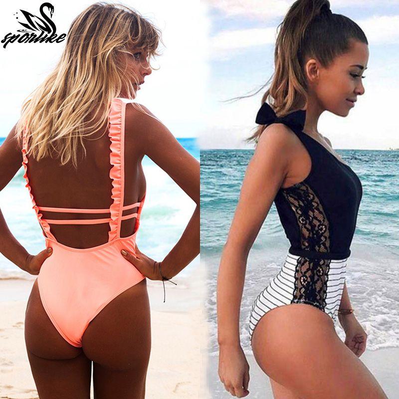 f3d777cefe 2019 Sexy One Piece Swimsuit Women 2019 Summer Beachwear Lace One Shoulder  Swimwear Bathing Suits Bodysuit Monokini Swimsuit From Teblue, $27.04 |  DHgate.