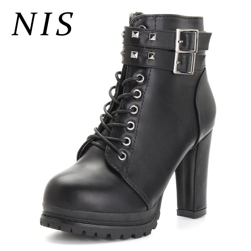 ed90199c25d1 NIS Punk Rivet Knight Boots Women Shoes Woman High Heels Ankle Boots Gothic  Motorcycle Platform Shoes Ladies Booties New Fashion High Heel Boots White  Boots ...