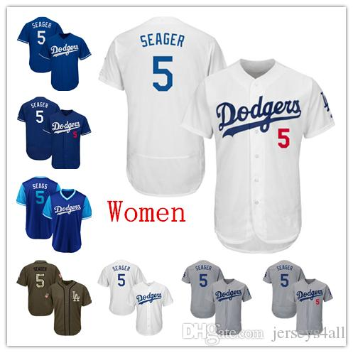 new style 86144 f0709 Womens Dodgers Baseball Jerseys 5 Corey Seager Jersey White Blue Gray Grey  Green Salute Players Weekend