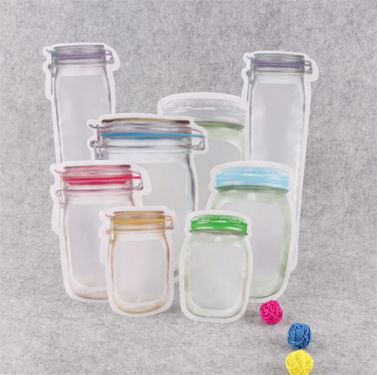 Zipper Recipientes De Armazenamento De Alimentos Resuable Mason Jar Em Forma de Lanches Recipiente De Armazenamento De Alimentos Recipiente Saco de Doces Selo Airtight Para Organizador Da Cozinha sacos