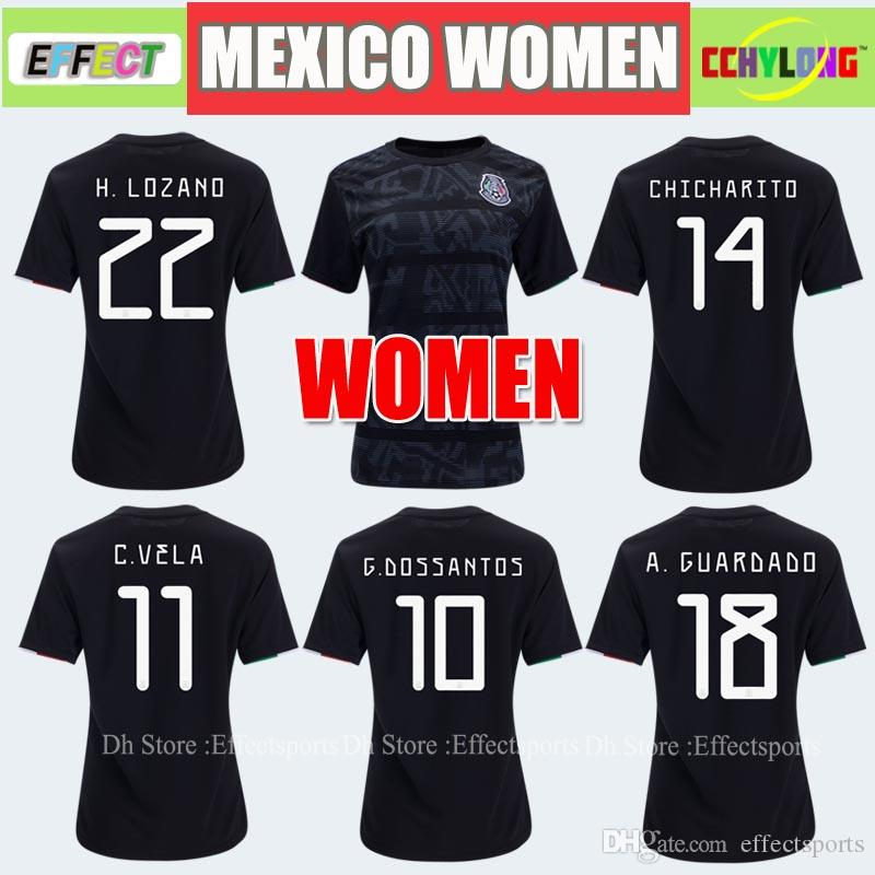 0278e54df5a 2019 Women Jersey 2019 Mexico Home Black Soccer Jerseys Gold Cup Girl 19 20  COPA AMERICA CHICHARITO Camisetas De Futbol LOZANO VELA RAUL Shirts From ...