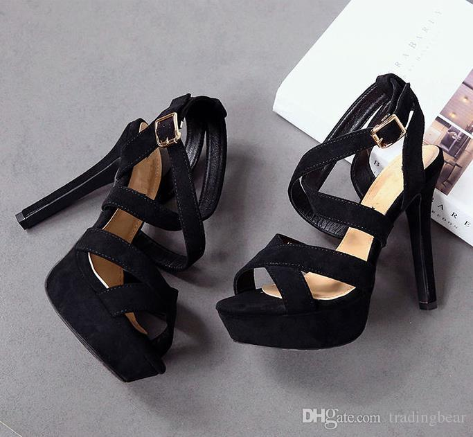 Ny Black Strappy Holow Out Platform Stiletto Heels Pink Summer Roman Style Gladiator Sandals Skor Storlek 34 Eppacket Gratis frakt
