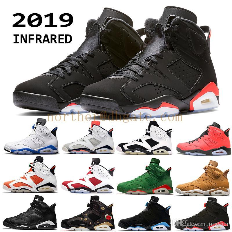 5cb0d77c Compre 2019 Nike Air Jordan 6 Hombres Infrarrojo Negro 6s Zapatos De  Baloncesto Para Hombre CNY Carmine Gatorade Tinker Verde UNC Black Cat  Designer ...