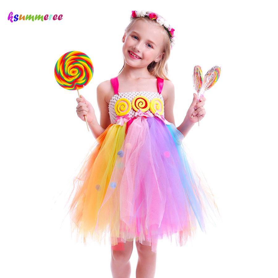39e107665ddd1 Candy Lollipop Girls Kids Tutu Dress Sweet Rainbow Birthday Dress Candy  Land Children Tutu Costume Pageant Princess