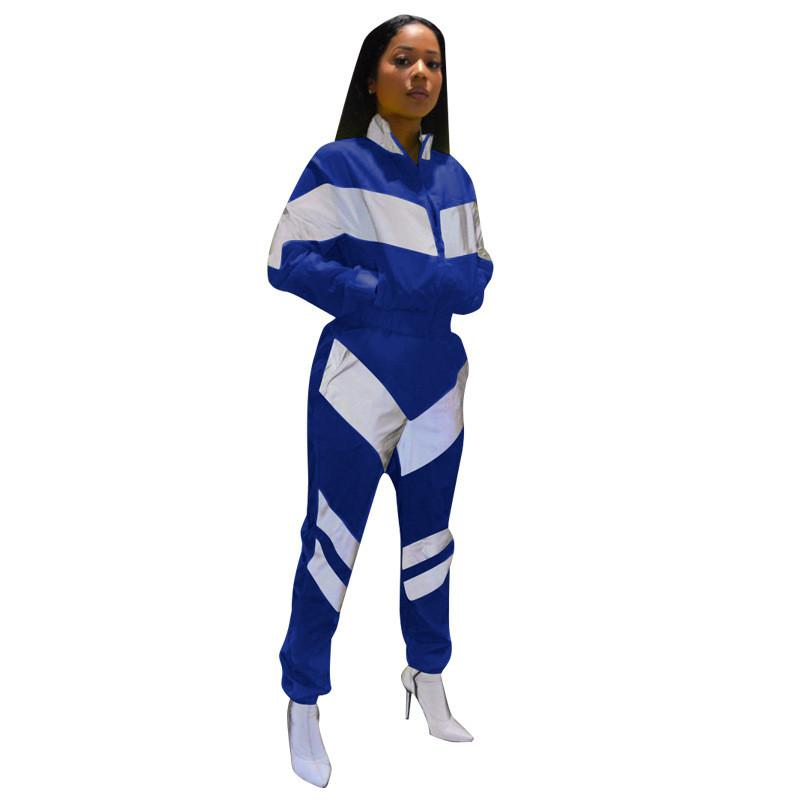 Patchwork Women Tracksuit Zipper Jacket Crop Coat + Pants 2 Pieces Joggers Set Striped Fashion Sportswear S-3XL Sports Joggers Suit C3142