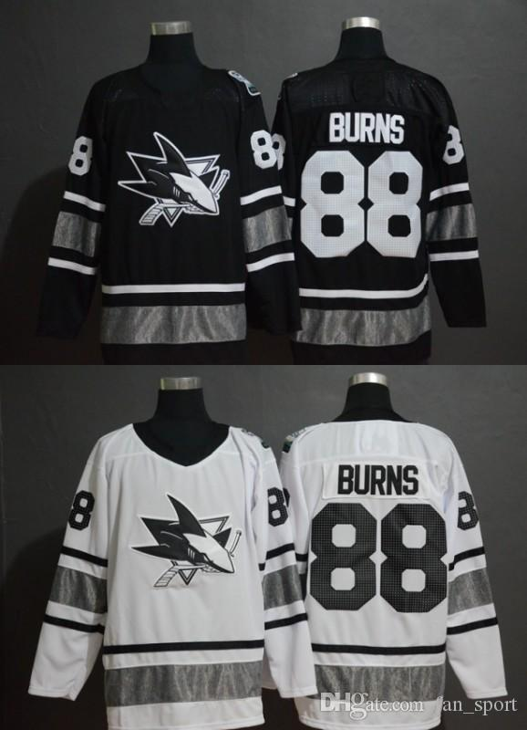 best sneakers 04b58 7f2da 2019 new San Jose Sharks 88 Brent Burns Black All-Star Hockey Jersey S-3XL  Free Shipping
