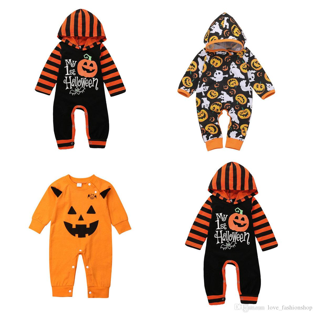 Retail Halloween Baby rompers Toddle Infant baby boy onesies One Piece Striped Hooded Pumpkin Long Climbing Suit Jumpsuits boutique clothing