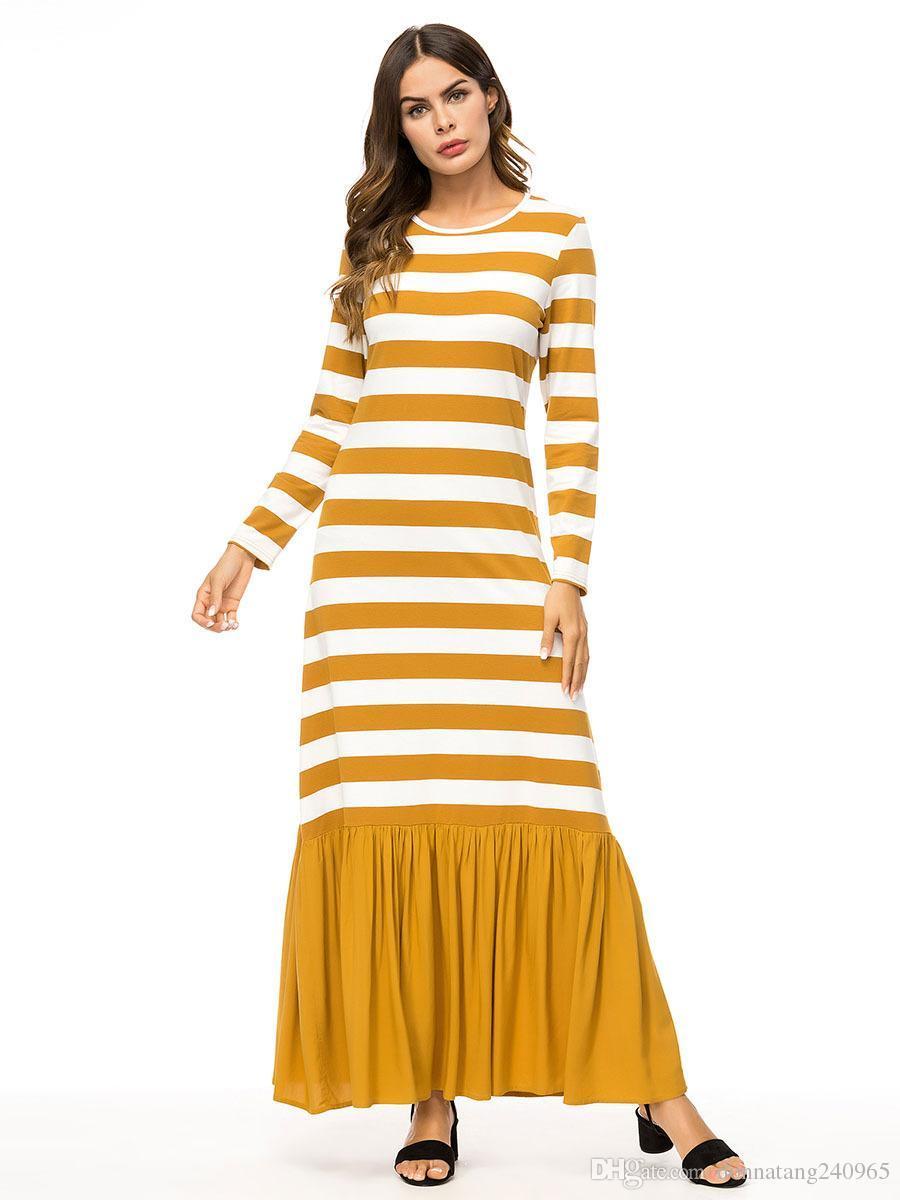 2019 2019 Casual Maxi Dress Stripe Cotton Middle East Abaya Shirt Loose  Style Muslim Robe Moroccan Burka Kimono Kaftan Islamic Arab Dubai 7343 From  Dujotree ... 5c1640b2f