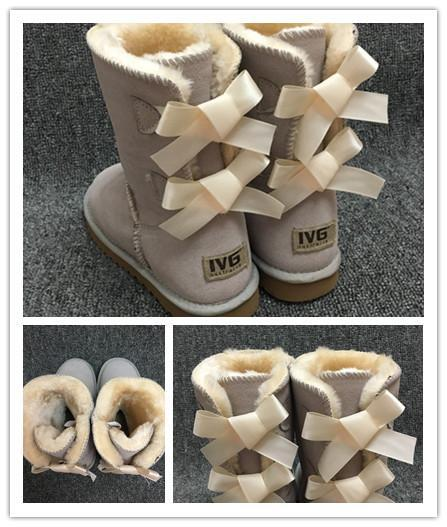 Hot SALE Fashion Women Snow Boots 2-Bow Back Decoration Australian Style Cow Suede Leather Winter Lady Outdoor Boots Brand Ivg