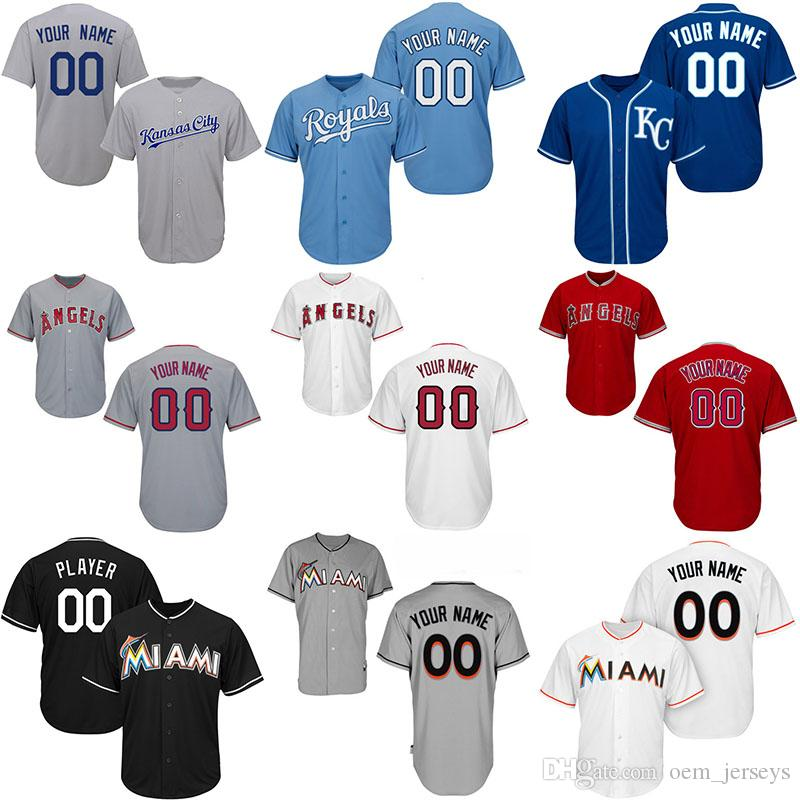 free shipping 704d5 536e5 Customized Miami Mens Marlins Baseball Jerseys Kansas 13 Salvador Perez  City Los Angeles 27 Mike Trout Angels of Anaheim Jersey