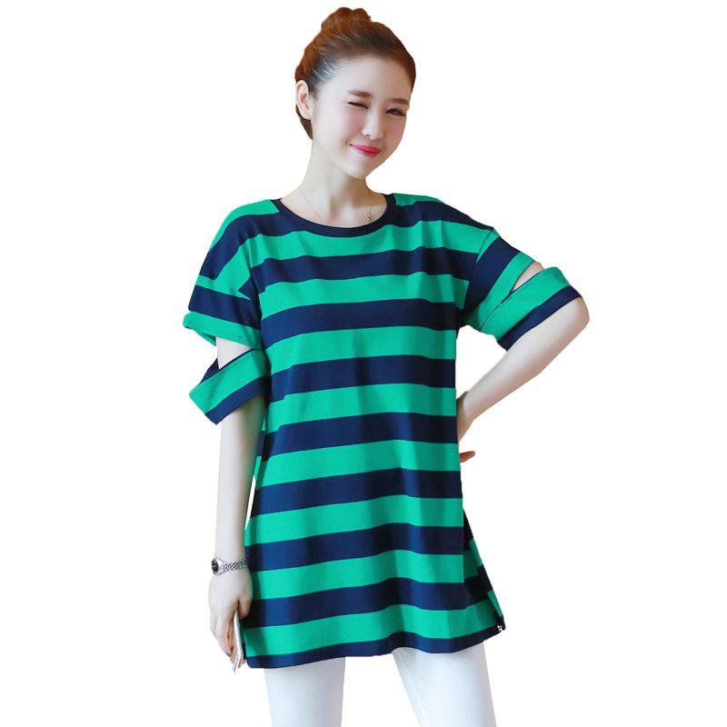 04b12fa5d36 Cotton Stripe Short Sleeve Maternity Clothes for Pregnant Women T ...