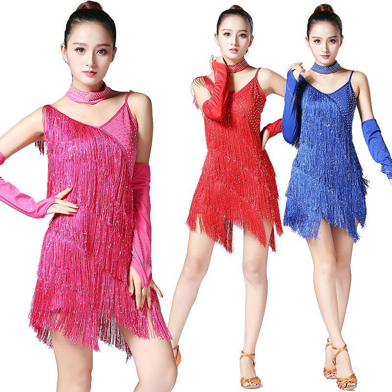 afad425aa 2019 Professional Sequins Women Latin Dance Dress Sexy Tassel Fringe Salsa  Cha Cha Rumba Samba Dance Dresses Costumes From Redbud01, $71.19 |  DHgate.Com