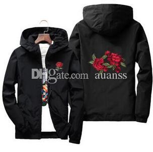 Hot Fashion 2019 Rose Jacket Windbreaker Men And Women's Jacket New Fashion White And Black Roses Outwear Kids and Children Coat