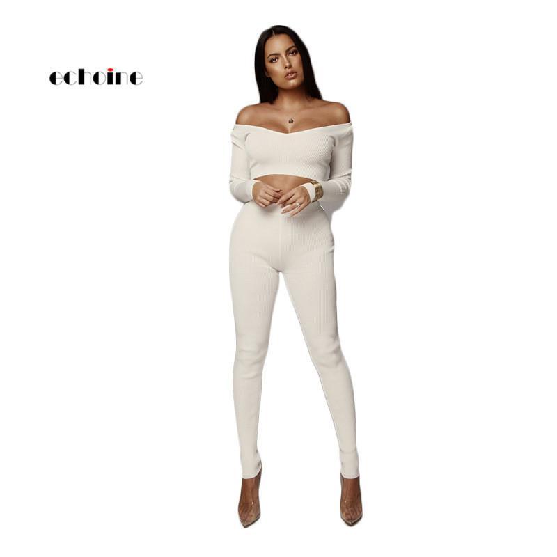 b8c833a461885 2019 Echoine Sexy Suits Women Fashion Two Piece Set Knitted Ribbed Slash  Neck Crop Tops Elastic Slim Long Pencil Pants Female Vestido C19041601 From  ...