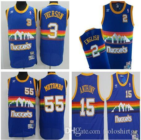 timeless design bc150 5bd90 2019 Denver Basketball Nuggets Jersey #55 Mutombo #3 Iverson Stitched  Basketball Jersey