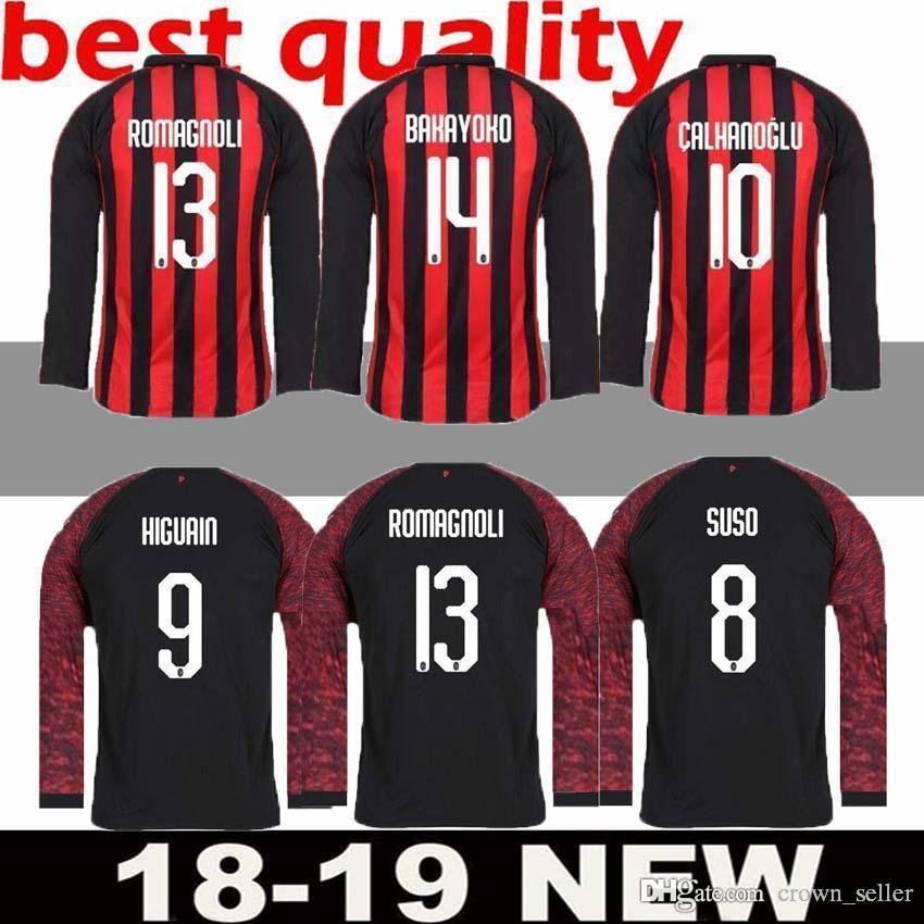 930a596707 Compre 2018 2019 AC Milan Camisola De Manga Comprida Camisola De Futebol 18  19 BACCA Em Casa BERTOLACCI BONAVENTURA MENEZ AC Milan 3ª Camisa De Futebol  ...