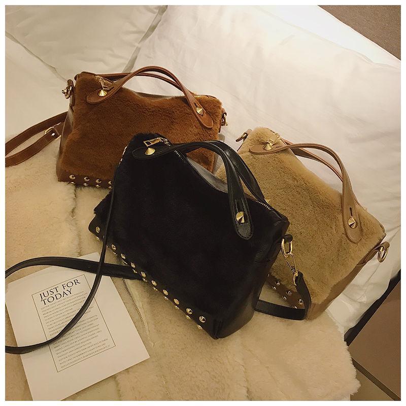 Female Totes Rivet Fashion Handbags Women Faux Fur Shoulder Bag 2019  Shoulder Strap Crossbody Bag Zipper High Capacity Handbag Side Bags Handbag  Brands From ... 096541937f107