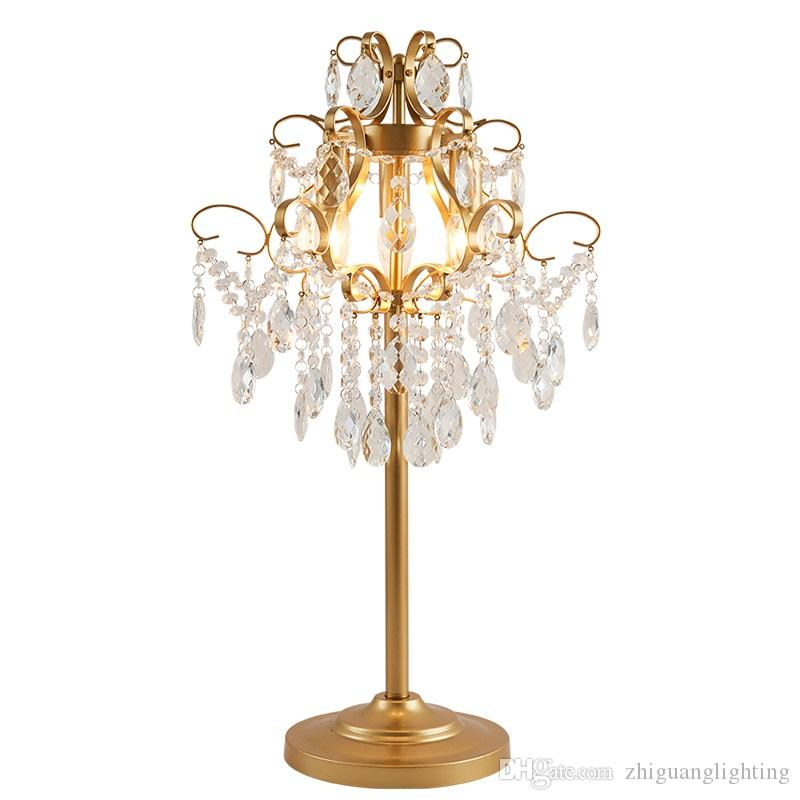 Crystal decorative table lamp American designer highend lighting hotel bedroom living room study model room lighting E14 lamps