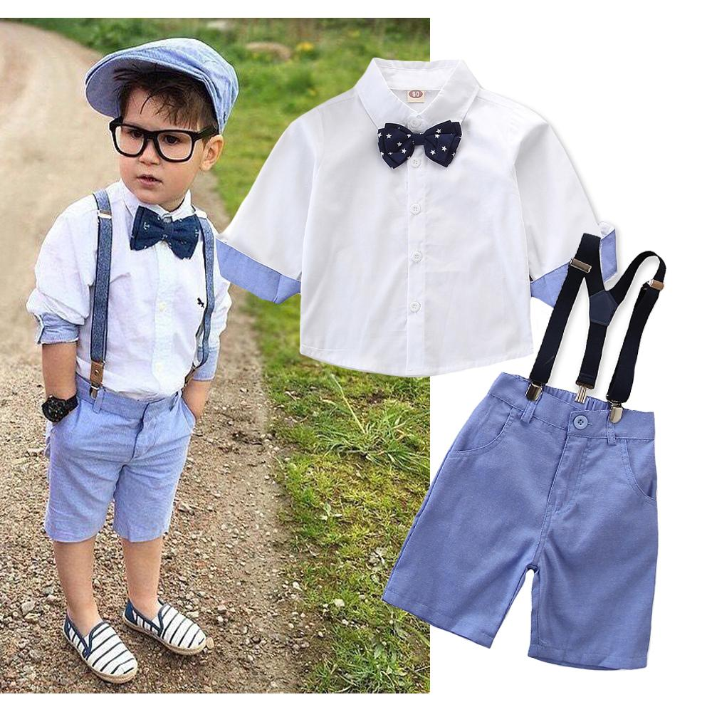 26bcaeb74088a Puseky Baby Boy Party Gentleman Suit Set Shirt Bow Tie Overalls Outfit  Clothes Baby Kid Boy Child Clothing Set Wedding 2-7Y