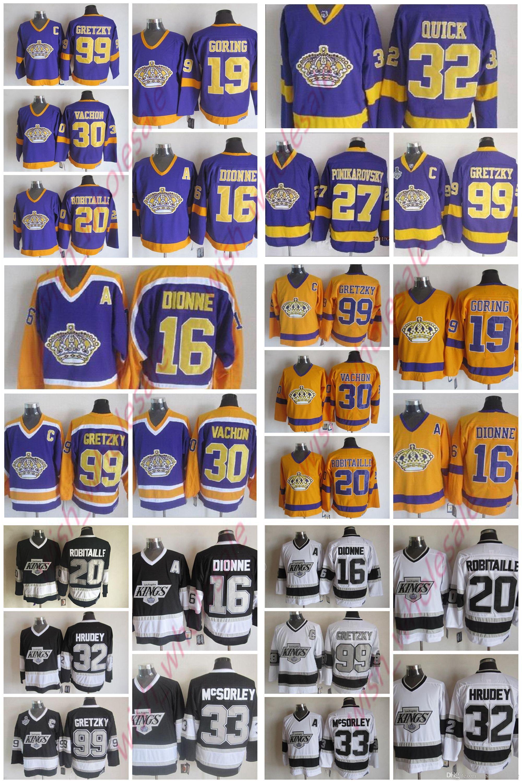 promo code 96ba0 7dbc0 Vintage CCM Wayne Gretzky Jersey Los Angeles Kings Kelly Hrudey Butch  Goring Marcel Dionne Rogie Vachon Luc Robitaille Man Hockey Jerseys
