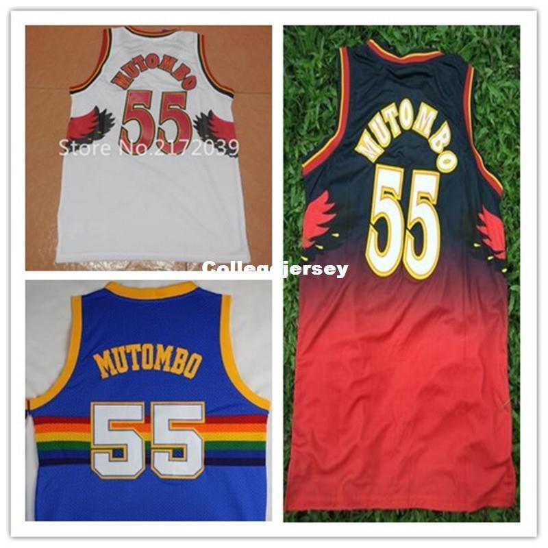 competitive price 22d4d 0c7b3 Best Quality Dikembe Mutombo Jersey #55 Dikembe Mutombo White Red Blue  Jersey Cheap Retro Stitched Basketball Jerseys Ncaa