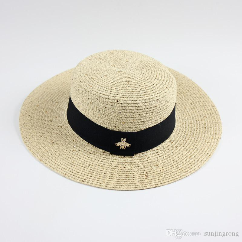 Hot Style Little Bee Straw Hats Ladies' comfortable Summer Hats Flat Top Sun Protection Hats Foldable Beach Caps