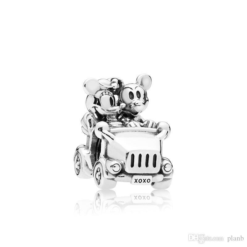 a5bb2b29af3f Authentic 925 Sterling Silver Bonito pequeno rato e Encantos Do Carro caixa  Original para Pandora Talão Encantos jóias fazendo acessórios