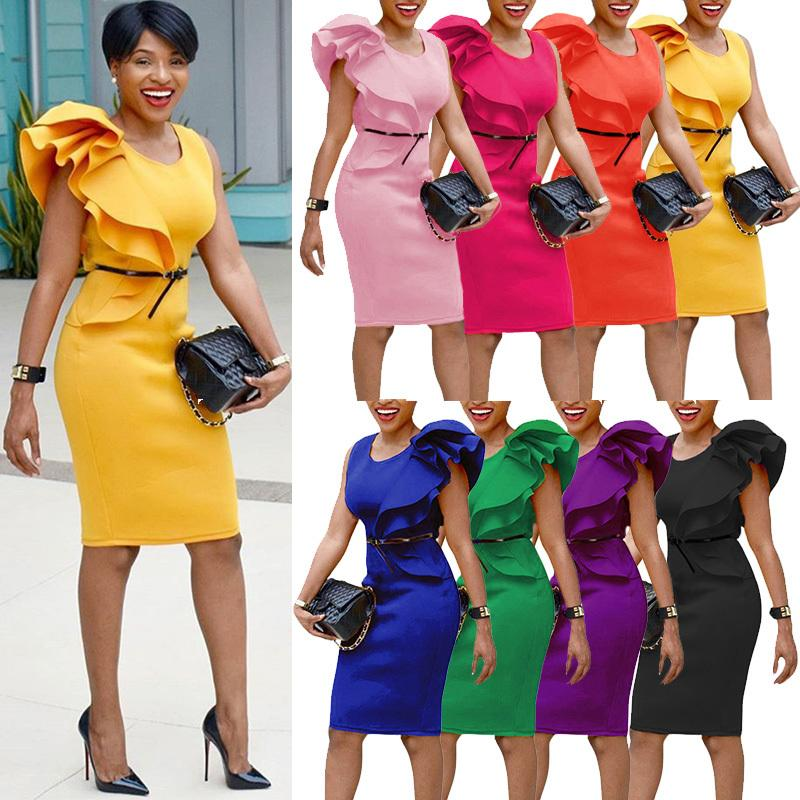 280eecf9fb45 Plus Size Dresses For Women 4xl 5xl 6xl One Shoulder Ruffle Office Pencil  Dress Sleeveless Midi Slim Solid OL Elegant One Piece Green And White Dress  For ...