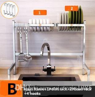 New 63cm 304 Stainless Steel Kitchen Dish Rack Plate Cutlery Cup Dish  Drainer Sink Drying Rack Kitchen Organizer Storage Holder B set 1.5