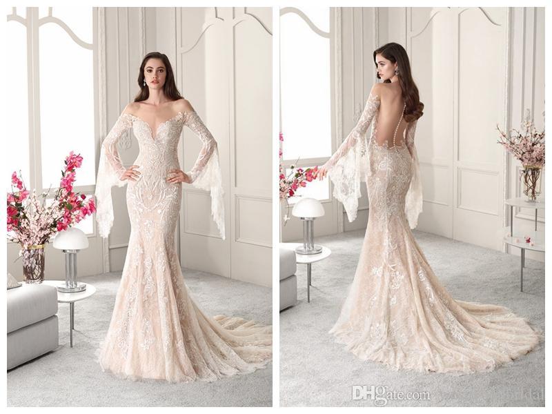 795ab9c61b87 2019 Wedding Dresses Robe De Mariée Demetrios 823 Ivory Lace Mermaid  Wedding Dress Sheer Bateau Buttons Long Sleeve Applique Custom Ma Cheap  Mermaid Wedding ...